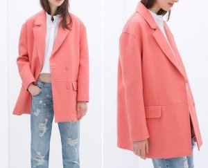 Zara Oversized Coat apricot-salmon
