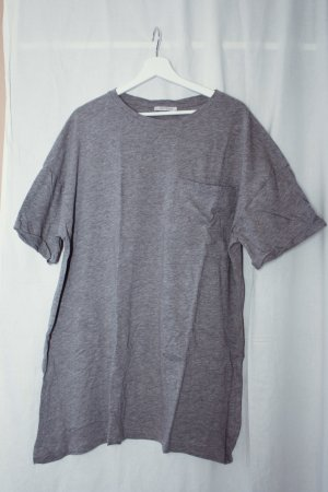 Zara Trafaluc Oversized Shirt light grey-grey cotton