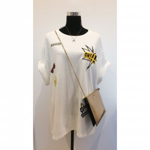 Zara oversize Sweater mit Patches weiß L 40 42 Batch Shirt