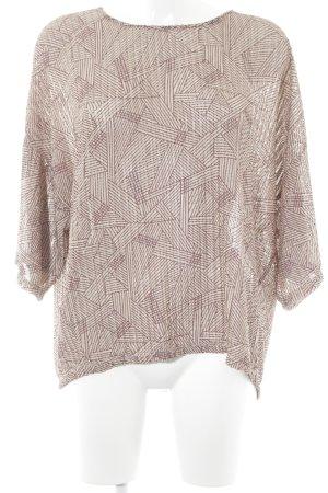 Zara Oversized Bluse beige-bordeauxrot abstraktes Muster