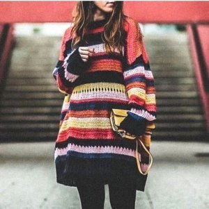 ZARA OVERSIZED MOHAIR STRIPED SWEATER JUMPER WOLLE PULLOVER STREIFEN