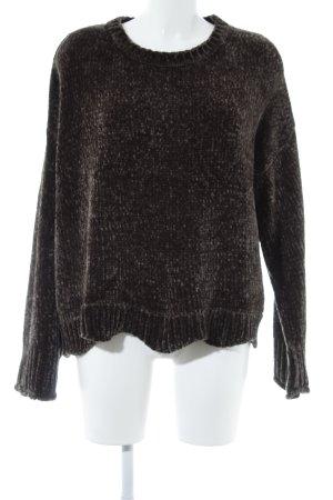 Zara Oversized Pullover grüngrau-dunkelgrün Kuschel-Optik