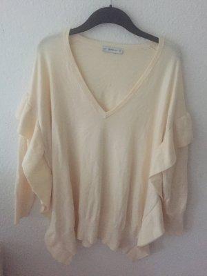 Zara oversized Pullover mit Volants Beige