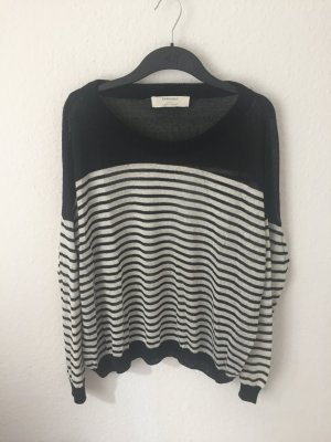 Zara oversized Pullover schwarz weiß gestreift