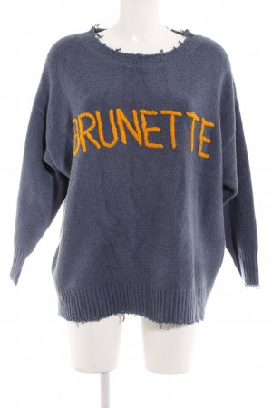 Zara Oversized Pullover stahlblau-hellorange Schriftzug gestickt Casual-Look