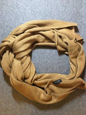 Zara Bufanda de punto marrón grisáceo tejido mezclado