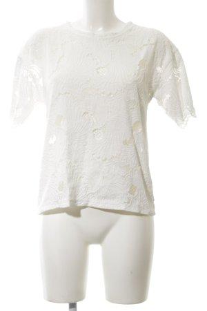 Zara Oversized Shirt weiß Blumenmuster Elegant