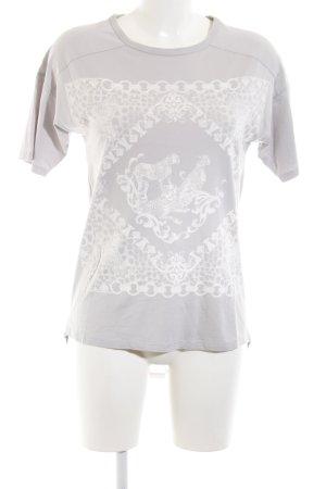 Zara Top extra-large gris clair imprimé avec thème style décontracté