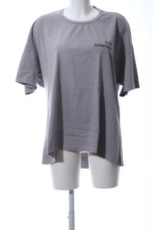 Zara Oversized shirt lichtgrijs gedrukte letters casual uitstraling