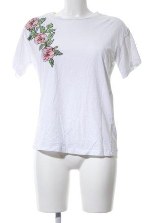 Zara Camisa holgada blanco estampado floral look casual