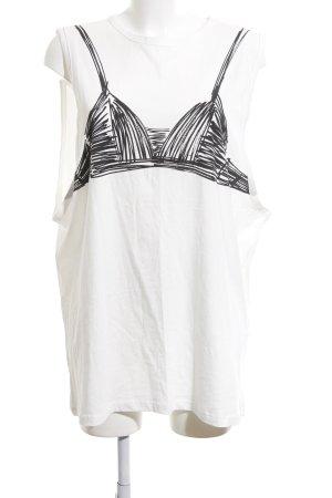 Zara Top extra-large blanc-noir imprimé avec thème style décontracté