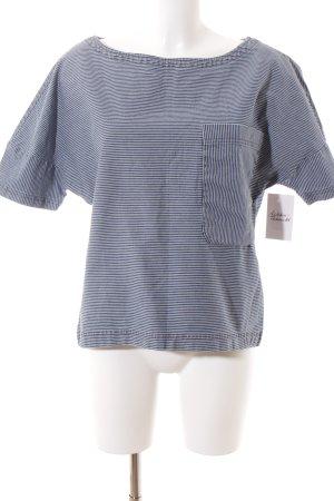 Zara Oversized Shirt blau-weiß Ringelmuster Marine-Look