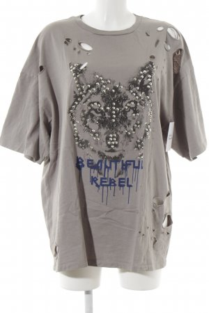 Zara Oversized shirt grijs abstracte print ontspannen stijl