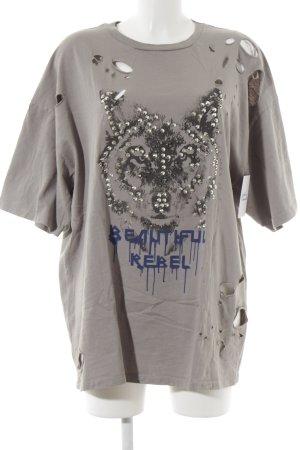 Zara Oversized Shirt grau abstrakter Druck Destroy-Optik