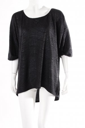 Zara Oversized Shirt schwarz Glitzeroptik
