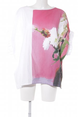 Zara Oversized Shirt weiß-rosa florales Muster Casual-Look