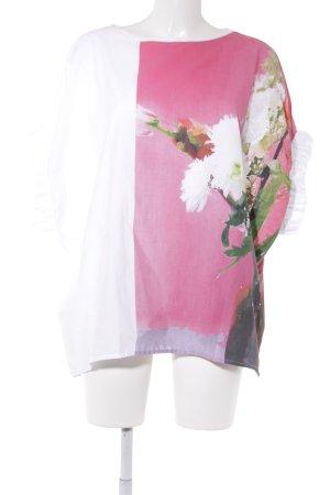 Zara Top extra-large blanc-rose motif floral style décontracté