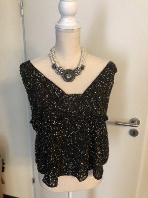 Zara Basic T-shirt col en V noir-brun noir