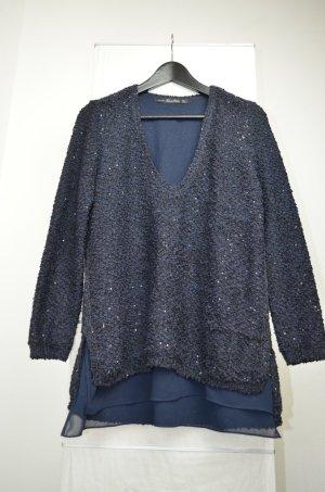 Zara Pailletten Oversize Pullover dunkelblau