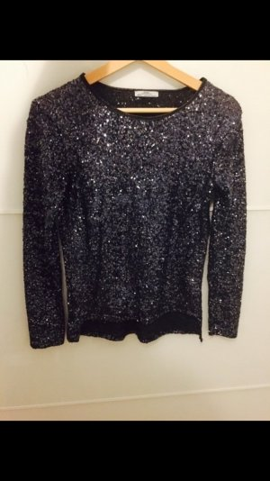 Zara Pailletten top Shirt blau