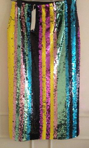 Zara Falda de talle alto multicolor Fibra sintética