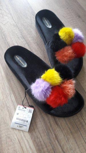 Zara Pantos Pantoffel Bommel Fell Fur Kunstpelz Pompoms Samt Floofs Sandalen 40