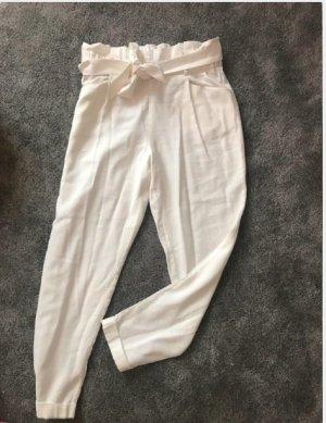 ZARA Paperbag//Hose mit Bindegürtel weiß