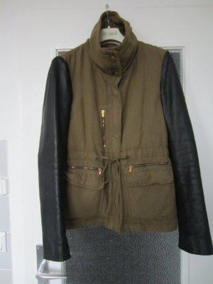 Zara Veste vert olive-noir tissu mixte