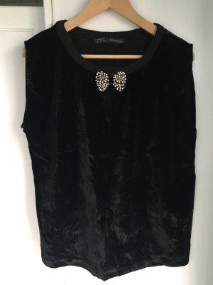 Zara Top negro-color plata