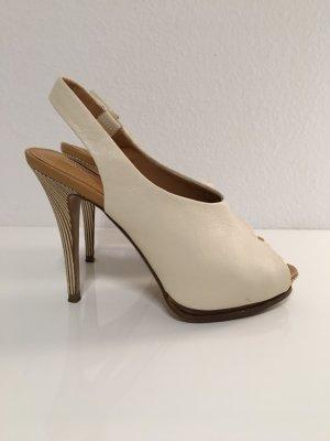 Zara Peep Toe Slingback Pumps 38 beige, weiß