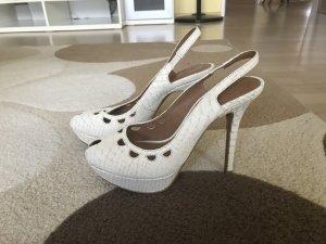 ZARA Peeptoe-High-Heels Gr.38 creme-weiß
