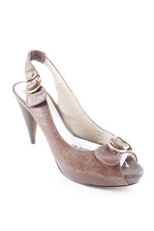Zara Tacones con punta abierta marrón estilo extravagante