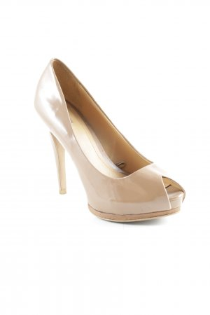 Zara Peeptoe Pumps camel Lack-Optik