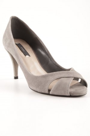 Zara Peeptoe Pumps grau Business-Look