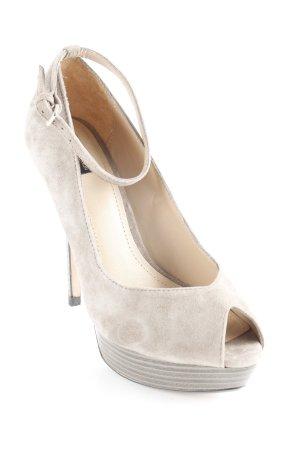 Zara Tacones con punta abierta gris verdoso elegante