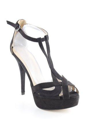 Zara Tacones con punta abierta negro estilo fiesta