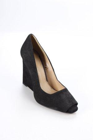 Zara Tacones con punta abierta negro estilo urbano