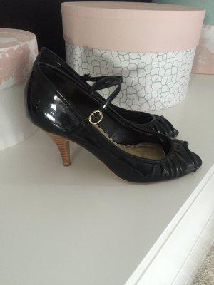 Zara PeepToe schwarz Lack Gr. 38 Damen Schuhe Riemchen