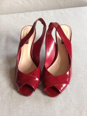 Zara Tacones con punta abierta rojo oscuro-carmín