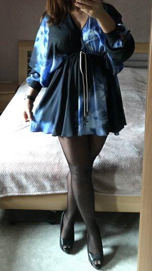 Zara Long Blouse blue-black
