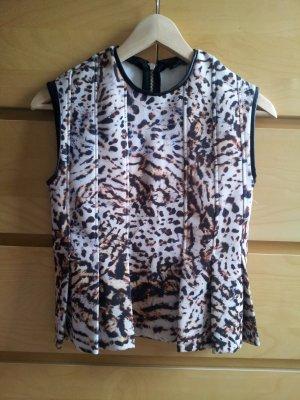 Zara Peplum Top Schößchen Leo Leopard S 36 neu Leder Scuba Neopren Shirt Bluse