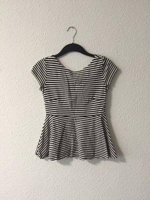 Zara Peplumshirt schwarz weiß S