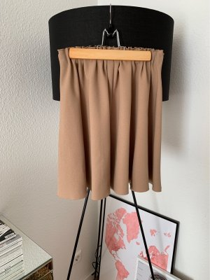 Zara Basic Pleated Skirt light brown polyester