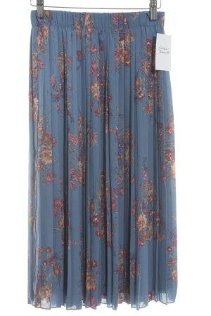 Zara Plisseerock kornblumenblau-rosa Blumenmuster Casual-Look