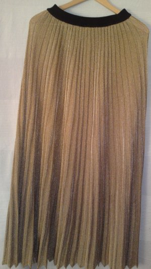 Zara Pleated Skirt gold-colored synthetic