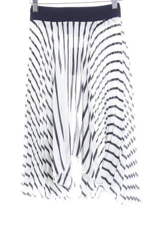 Zara Plisseerock weiß-dunkelblau Streifenmuster Casual-Look
