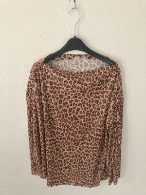 Zara plissiertes Shirt mit Leopardenmuster