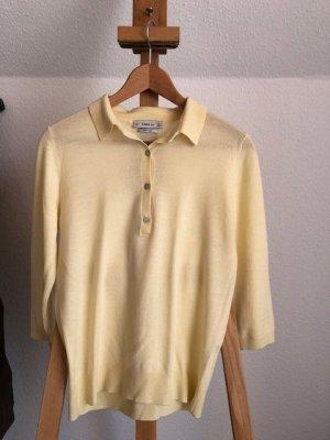 Zara Knit Camiseta tipo polo amarillo claro lana merina