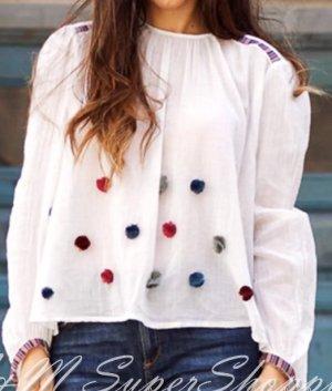 Zara Blouse blanc cassé coton