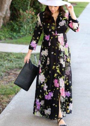Zara Premium Blogger Blumen Maxi Kleid schwarz geblümt 36 38 M